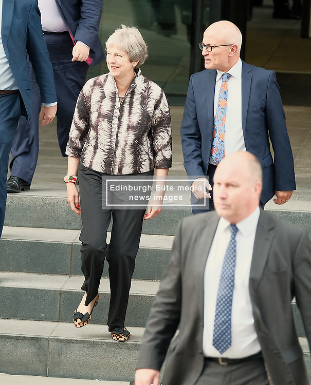 Theresa May meets with Nicola Sturgeon in Edinburgh, Tuesday 7th August 2018<br /> <br /> Pictured: Theresa May<br /> <br /> Alex Todd | Edinburgh Elite media