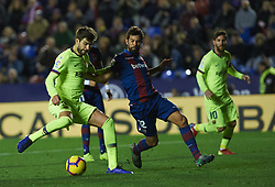 December 16, 2018 - Valencia, Valencia, Spain - Gerard Pique of FC Barcelona scores a goal during the La Liga match between Levante UD and FC Barcelona at Ciutat de Valencia Stadium on December 16, 2018 in Valencia, Spain. (Credit Image: © AFP7 via ZUMA Wire)