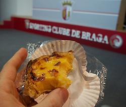 BRAGA, PORTUGAL, Wednesday, March 9, 2011: A half-eaten Nata before a press conference at the Estadio Municipal de Braga ahead of the UEFA Europa League Round of 16 1st leg match against Sporting Clube de Braga. (Photo by David Rawcliffe/Propaganda)