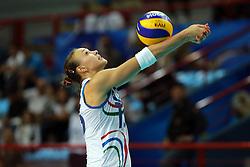 Azerbaijan Jeyran Aliyeva digs a ball
