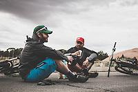 Snack time at the Slick Rock Trailhead. Dane Cronin and Ben Duke take a break between rides.