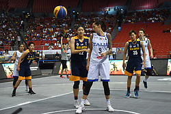 June 9, 2018 - Bulacan, Philippines - Players react after Italy scores during the match up between Italy and Malaysia for the FIBA 3x3 tournament held at the Philippine Arena in the province of Bulacan, north of Manila on 09 June 2018. (Credit Image: © George Calvelo/NurPhoto via ZUMA Press)