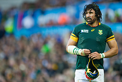 Sept. 26, 2015 - Birmingham, United Kingdom - South Africa's Victor Matfield in action during todays match during the 2015 Rugby World cup match-up between South Africa and Samoa being held at Villa Park in Birmingham. South Africa would win 46-6...Photo Credit: Andrew Patron/Zuma Newswire (Credit Image: © Andrew Patron via ZUMA Wire)