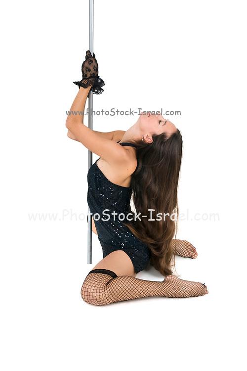 Sexy pole dancer On white Background