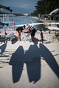 """Plovdiv BULGARIA. 2017 FISA. Rowing World U23 Championships. Crew and Coach, """"rigging and setting up the boat"""".<br /> <br /> Wednesday. AM, general Views, Course, Boat Area<br /> 09:19:28  Wednesday  19.07.17   <br /> <br /> [Mandatory Credit. Peter SPURRIER/Intersport Images]."""