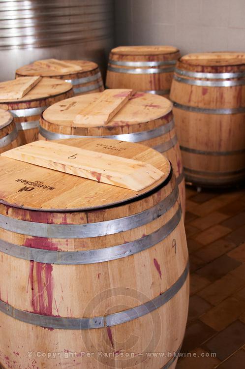 Cabernet Sauvignon fermenting in barrels. Clos de l'Obac, Costers del Siurana, Gratallops, Priorato, Catalonia, Spain.