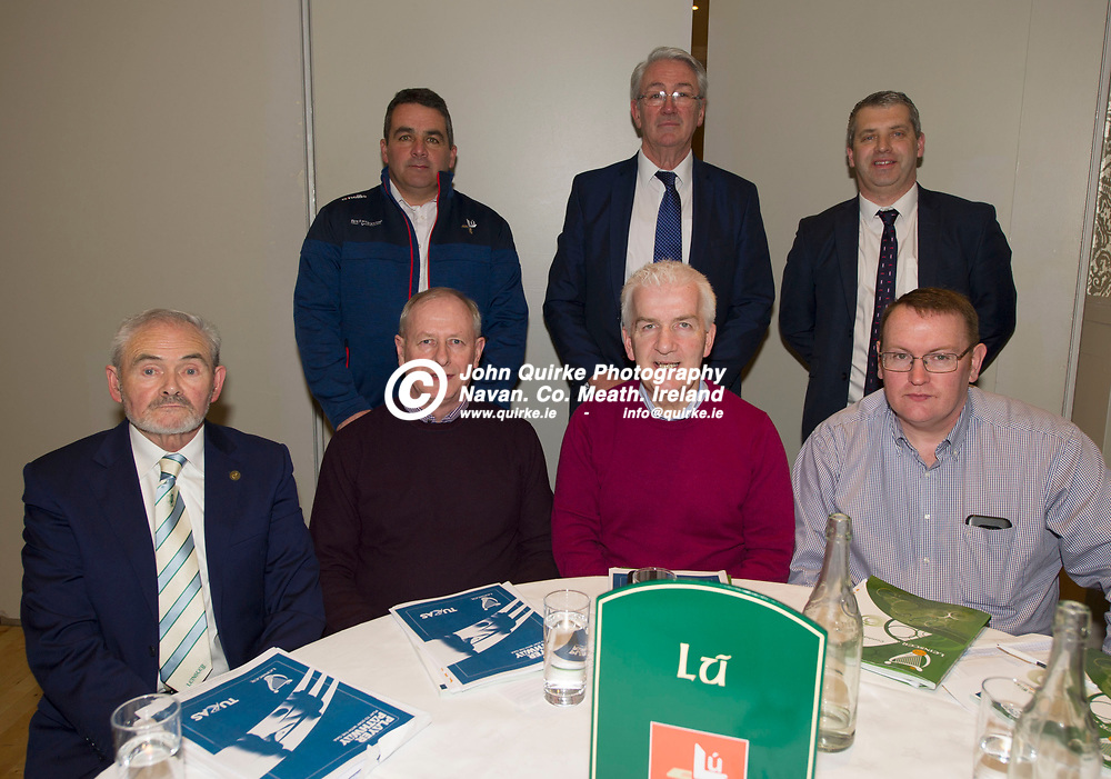 25-01-19. Leinster GAA Annual Convention 2018 at the Knightsbrook Hotel, Trim.<br /> Louth Delegates in attendance at the Leinster GAA Convention L to R.<br /> Back: Bob Doheny, Secretary. Padraic O'Connor. Des Halpenny.<br /> Front: Fra Kieran, Sean Carroll, Aidan Berrill, Treasurer and Declan Byrne, <br /> Photo: John Quirke / www.quirke.ie<br /> ©John Quirke Photography, Unit 17, Blackcastle Shopping Cte. Navan. Co. Meath. 046-9079044 / 087-2579454.