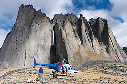 Helicopter positions visitors in Tombstone Territorial Park