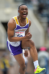 April 27, 2018 - Philadelphia, Pennsylvania, U.S - KINGSLEY OGBONNA (22) from Albany competes in the High Jump during the meet held in Franklin Field in Philadelphia, Pennsylvania. (Credit Image: © Amy Sanderson via ZUMA Wire)