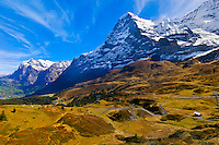 Eiger, Monch and Jungfrau (peaks), Swiss Alps, Canton Bern, Switzerland