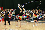 Loughborough, England - Saturday 31 July 2010: Dominik Walther of Germany does a handstand during the Double Dutch open team event during the World Rope Skipping Championships held at Loughborough University, England. The championships run over 7 days and comprise junior categories for 12-14 year olds in the World Youth Tournament, 15-17 year olds male and female championships, and any age open championships. In the team competitions, 6 events are judged, the Single Rope Speed, Double Dutch Speed Relay, Single Rope Pair Freestyle, Single Rope Team Freestyle, Double Dutch Single Freestyle and Double Dutch Pair Freestyle. For more information check www.rs2010.org. Picture by Andrew Tobin/Picture It Now.