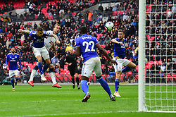 Harry Kane of Tottenham Hotspur heads wide of the target. - Mandatory by-line: Alex James/JMP - 06/10/2018 - FOOTBALL - Wembley Stadium - London, England - Tottenham Hotspur v Cardiff City - Premier League
