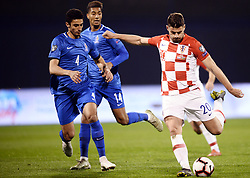 Zagreb, March 21, 2019  Bruno Petkovic  (R) Of Croatia and Rahil Mammadov of Azerbaijan during the UEFA Euro 2020 group E qualifying match between Croatia and Azerbaijan at the Maksimir stadium in Zagreb, Croatia, on March 21, 2019. Croatia won 2:1. (Credit Image: © Marko Prpic/Pixsell/Xinhua via ZUMA Wire)