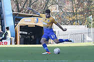 Ryan Sweeney of Mansfield Town (17) sends a ball acroos the pitch during the The FA Cup match between Mansfield Town and Charlton Athletic at the One Call Stadium, Mansfield, England on 11 November 2018.