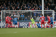 Chance for Carlisle United to retake the lead in injury time, but the effort goes wide during the EFL Sky Bet League 2 match between Hartlepool United and Carlisle United at Victoria Park, Hartlepool, England on 14 April 2017. Photo by Mark P Doherty.