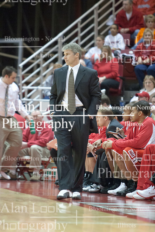 05 February 2005<br /> <br /> Coach Jim Les.<br /> <br /> 99th competition between Illinois State University Redbirds V Bradley University Braves Men's NCAA, Missouri Valley Conference Basketball.  Redbird Arena. Illinois State University, Normal IL