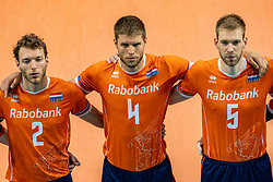 Wessel Keemink of Netherlands, Thijs Ter Horst of Netherlands, Luuc van der Ent of Netherlands in action during the CEV Eurovolley 2021 Qualifiers between Croatia and Netherlands at Topsporthall Omnisport on May 16, 2021 in Apeldoorn, Netherlands