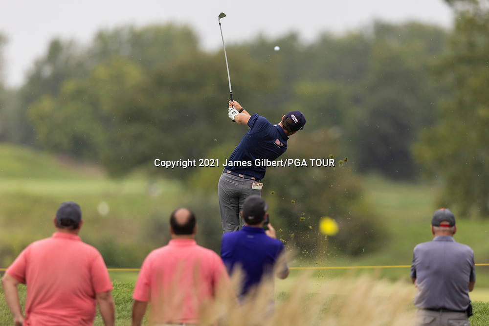 NEWBURGH, IN - SEPTEMBER 04: Lee Hodges plays his shot from the 5th tee during the third round of the Korn Ferry Tour Championship presented by United Leasing and Financing at Victoria National Golf Club on September 4, 2021 in Newburgh, Indiana. (Photo by James Gilbert/PGA TOUR via Getty Images)