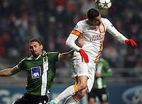 UEFA Champions league group H football match between  Braga v Galatasaray at Municipal (AXA)Stadium in Braga, Portugal 05.12.2012.Match Scored: Braga 1 - Galatasaray 2.Pictured: Galatasaray's Burak Yilmaz celebrates after the scored.