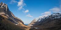 Panoramic mountain view towards Horseid beach, Moskenesøy, Lofoten Islands, Norway