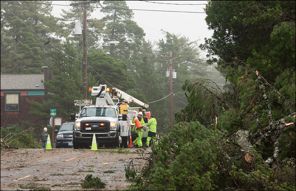 Electric crews starting clean up from the EF-2 tornado that went through the coastal town of Manzanita, Oregon.