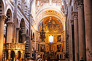 Interior of cathedral church of Santa Maria Assunta at Pisa, Italy