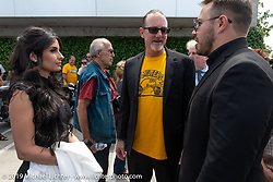 Alessandra Filosa, Brian Klock and Zach Ness at the Arlen Ness Memorial - Celebration of Life at the Arlen Ness Motorcycles store. Dublin, CA, USA. Saturday, April 27, 2019. Photography ©2019 Michael Lichter.