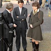 NLD/Naarden/20070406 - Mattheus Passion 2007, Vicepremiere Andre Rouvoet en zijn partner Liesbeth in gesprek met voorzitter Nederlandse Bachvereniging Aart van Bochove
