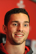Wales rugby player George North talks to the media.Wales rugby team press conference and training at the Vale, Hensol near Cardiff, South Wales on Thursday 7th Nov 2013. pic by Andrew Orchard, Andrew Orchard sports photography,