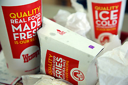 23 November 2012. New Orleans, Louisiana,  USA. <br /> Fast food. Ketchup and french fries made from real potatoes at Wendy's fast food restaurant.<br /> Photo; Charlie Varley/varleypix.com