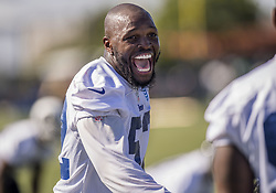July 29, 2017 - Irvine, CA, USA - Alec Ogletree has some fun on the field during the first day of practice of the Rams training camp on the campus of University of California, Irvine in Irvine on Saturday, July 29, 2017. (Credit Image: © Paul Rodriguez/The Orange County Register via ZUMA Wire)