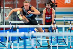 Liam Van der Schaaf, Koen Smet in action on the 60 meter hurdles final during AA Drink Dutch Athletics Championship Indoor on 21 February 2021 in Apeldoorn.
