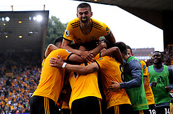 Ruben Neves of Wolverhampton Wanderers celebrates his goal with team mates- Mandatory by-line: Nizaam Jones/JMP - 11/08/2018/ - FOOTBALL -Molineux  - Wolverhampton, England - Wolverhampton Wanderers v Everton - Premier League