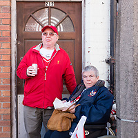 Anfield, Liverpool, UK. 15th April, 2014. Alan and Eunice Poole from out of town. They came to the Hillsborough service at Anfield because they had to.