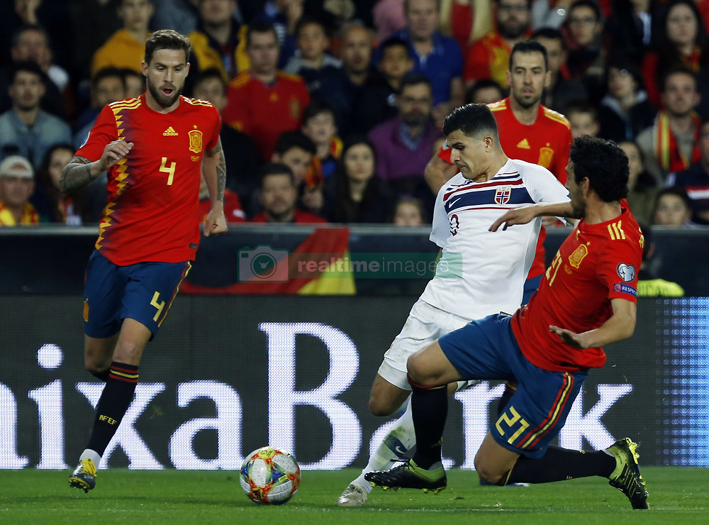 March 23, 2019 - Valencia, Community of Valencia, Spain - Norway's Tarik Elyounoussi seen in action during the Qualifiers - Group B to Euro 2020 football match between Spain and Norway in Valencia, Spain. Spain beat Norway, 2-1 (Credit Image: © Manu Reino/SOPA Images via ZUMA Wire)