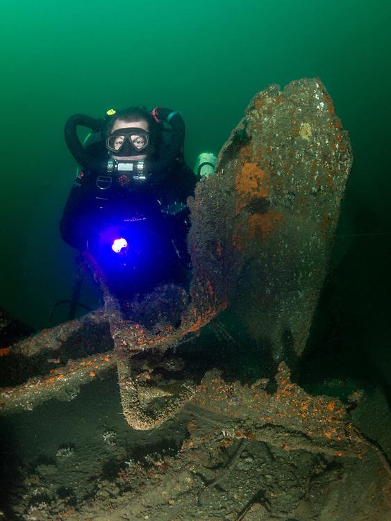 KISS rebreather scuba diver on USS Indra Shipwreck in North Carolina, USA