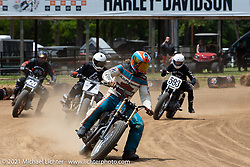 Hooligan racer Ethan White on the Fist City Flat Track at the Tennessee Motorcycles and Music Revival at Loretta Lynn's Ranch. Hurricane Mills, TN, USA. Friday, May 21, 2021. Photography ©2021 Michael Lichter.