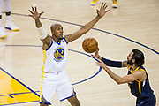 Golden State Warriors forward David West (3) defends Utah Jazz guard Ricky Rubio (3) at Oracle Arena in Oakland, Calif., on December 27, 2017. (Stan Olszewski/Special to S.F. Examiner)
