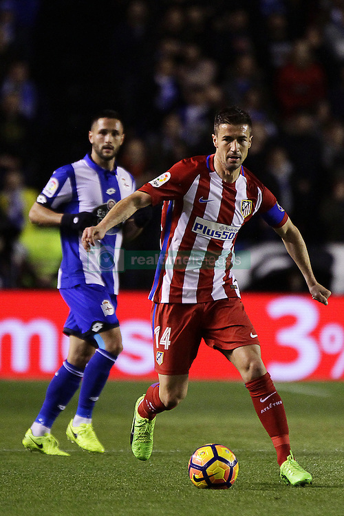 March 2, 2017 - A CoruñA, Galicia - A CO Gabi Fernandez midfielder of Atletico de Madrid (14) drives the ball during the La Liga Santander match between Deportivo de La Coruña and Atletico de Madrid at Riazor Stadium on March 2, 2017 in A Coruña, Spain. (Credit Image: © Jose Manuel Alvarez Rey/NurPhoto via ZUMA Press)