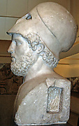 Pericles, citizen and soldier, died 429 BC.  He was famous for his public speaking, which enabled him to rule Athens at the height of her empire.  With a military helmet pushed back on the head, Pericles is the model of a citizen soldier.  This idealised image presents him as 'fair of face and sound of heart'.  Roman, 2nd century AD.  Copy of a lost Greek original around 440-430 BC.