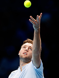 Jack Sock serving during his match against Marin Cilic during day three of the NITTO ATP World Tour Finals at the O2 Arena, London.