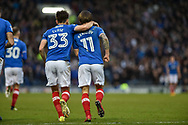 Portsmouth Midfielder, Matty Kennedy (11) scores a goal and celebrates after making it 1-1 during the EFL Sky Bet League 1 match between Portsmouth and Northampton Town at Fratton Park, Portsmouth, England on 30 December 2017. Photo by Adam Rivers.