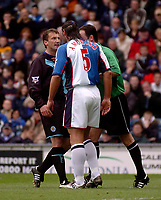 Photo. Glyn Thomas, Digitalsport.<br /> Blackburn Rovers v Leicester City. <br /> FA Barclaycard Premiership. 17/04/2004.<br /> Leicester's Billy McKinlay (L) has angry words with Lorenzo Amoruso which earnt both a yellow card.