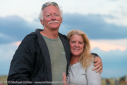 Melissa Penland and  Bob Pomerenkee at Heather and Chris Callen's Wedding at the Broken Spoke Camground during the 75th Annual Sturgis Black Hills Motorcycle Rally.  SD, USA.  August 8, 2015.  Photography ©2015 Michael Lichter.