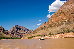 Scenic, Grand Canyon, Day Rafting trip, Boating, pontoon boat on Colorado River, Arizona, AZ, cliffs, landscape, horizontal, arid, erosion, nature, muddy water, no model release, Image nv455-18783.Photo copyright: Lee Foster, www.fostertravel.com, lee@fostertravel.com, 510-549-2202