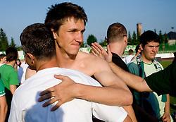 Coach Janez Pate and David Kasnik after final match of 2nd SNL league between NK Olimpija in NK Aluminij, on May 23, 2009, ZAK, Ljubljana, Slovenia. Aluminij won 2:1. NK Olimpija is a Champion of 2nd SNL and thus qualified to 1st Slovenian football league for season 2009/2010. (Photo by Vid Ponikvar / Sportida)