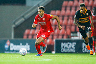 Swindon Town forward Keshi Anderson (10) with the ball  during the EFL Trophy Group Stage match between Swindon Town and Newport County at the County Ground, Swindon, England on 11 September 2018.