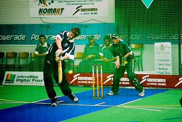 South Africa Under 19 Boys (batting) vs Australia.<br /> 2003 Indoor Cricket World Under 19 Championships, Christchurch, New Zealand
