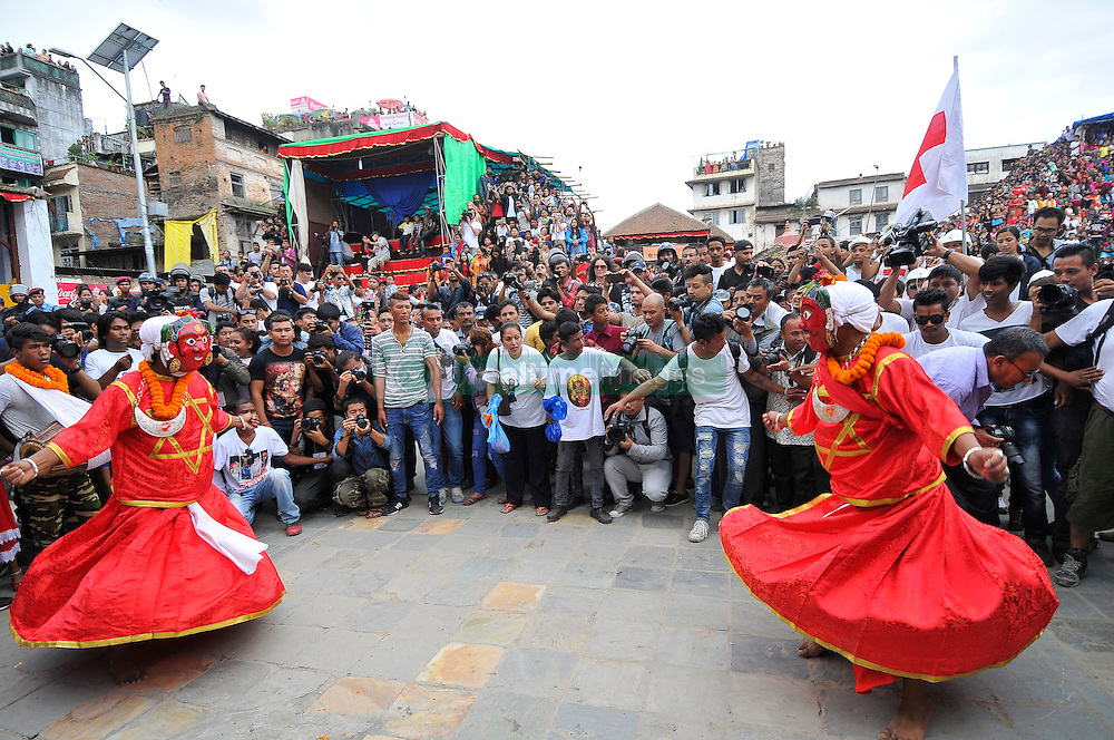 September 15, 2016 - Kathmandu, NE, Nepal - Traditional mask dancer, dancing in the ritual tunes on the third day of Indra Jatra Festival celebrated at Basantapur Durbar Square, Kathmandu, Nepal on Thursday, September 15, 2016. Devotees celebrated the god of rain 'Indra' for 8 days in Kathmandu. (Credit Image: © Narayan Maharjan/NurPhoto via ZUMA Press)