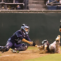 Valley Christian Cather #22 Ryan Belluomini tags out Los Gatos #13 Tommy Troy at the plate in the 2018 CCS Open Division Baseball Championship at San Jose Municipal Stadium, San Jose CA on 5/25/18. (Photograph by Bill Gerth) (Valley Christian 4 Los Gatos 3) A heart-pounding, tension-packed seventh inning ended Friday night with Coleman Brigman crossing home plate with the decisive run after Steven Zobac took a pitch to the thigh.<br /> <br /> Anticlimactic, perhaps, but certainly not for the winners.<br /> <br /> Valley Christian repeated as Central Coast Section Open Division champion, beating Los Gatos 4-3 at Municipal Stadium in a game that will be remembered for the incredible at-bats by Los Gatos in the top half of the seventh that erased a two-run deficit and the bounce-back in the bottom half of the inning by the area's top team all season.